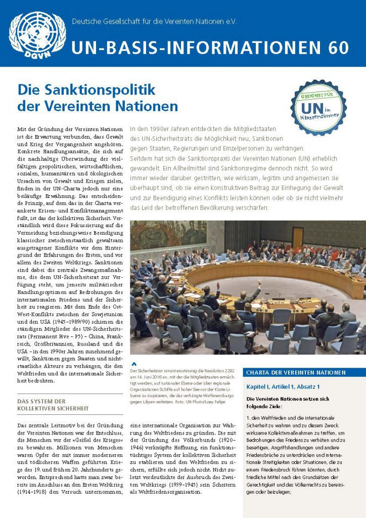 Die Sanktionspolitik der Vereinten Nationen 2019